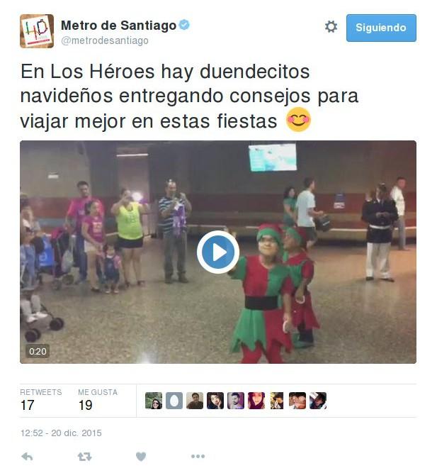 Twitter del Metro de Santiago